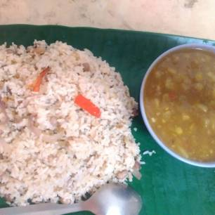 Matar Curry and Fried Rice